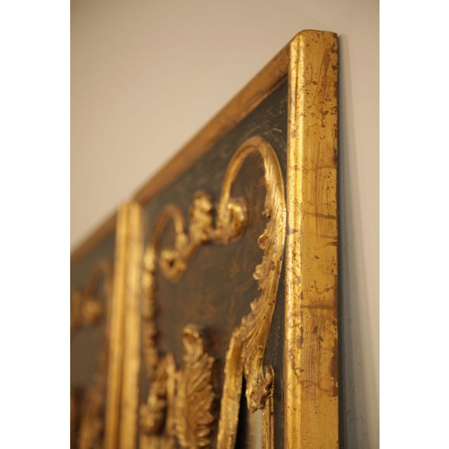 "Castilian 76"" Tall Pair Gilt Carved Rococo Chinoiserie Painted Mirror Wall Panels For Sale - Image 4 of 12"