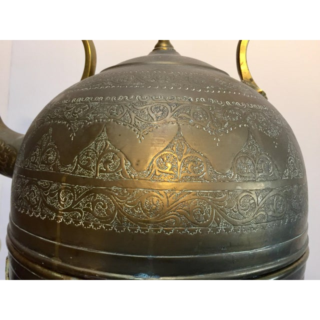 Gold Moroccan Antique Brass Tea Kettle Pot on Stand For Sale - Image 8 of 12