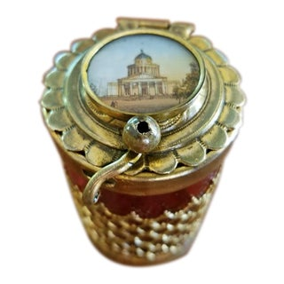 19c Italian Ruby Glass Box With Miniature of Basilica