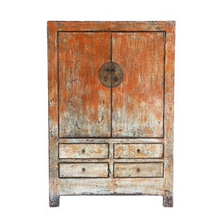 Vintage Distressed Persimmon Cabinet For Sale