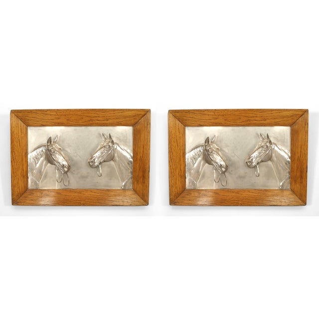 English Victorian Country Silver Horse Wall Plaques For Sale - Image 4 of 4