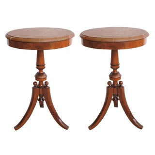 A Pair of Danish Neoclassical Style Walnut Circular Tripod Side Tables For Sale