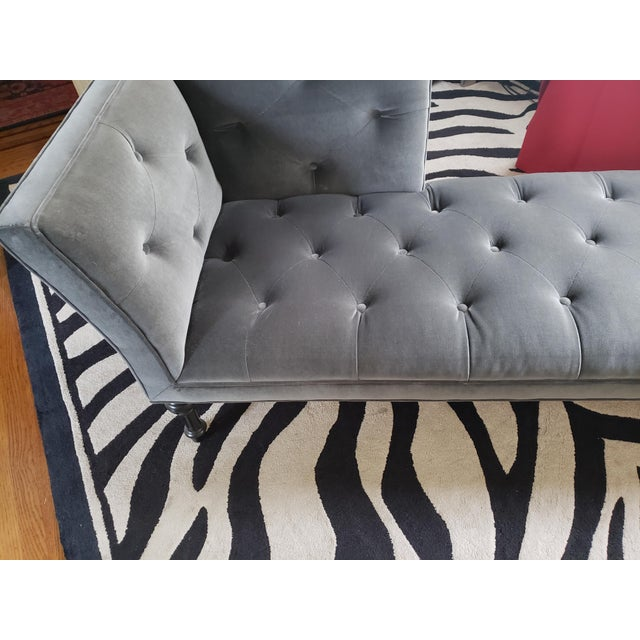 Gray Tufted Love Seat Settee by Cisco Home For Sale - Image 11 of 13