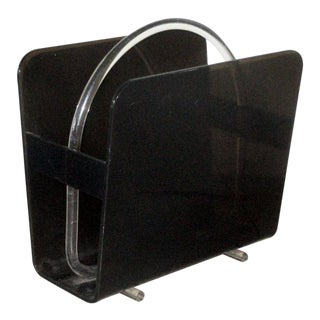 Mid-Century Modern Black and Clear Lucite Magazine Holder For Sale