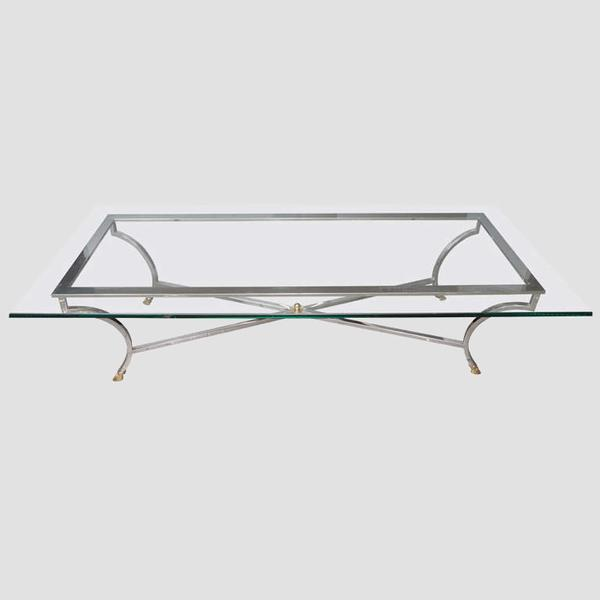 "Steel and Brass Coffee Table in Maison Jansen style with thick glass top 28"" x 68"". Please keep in mind that this is a..."