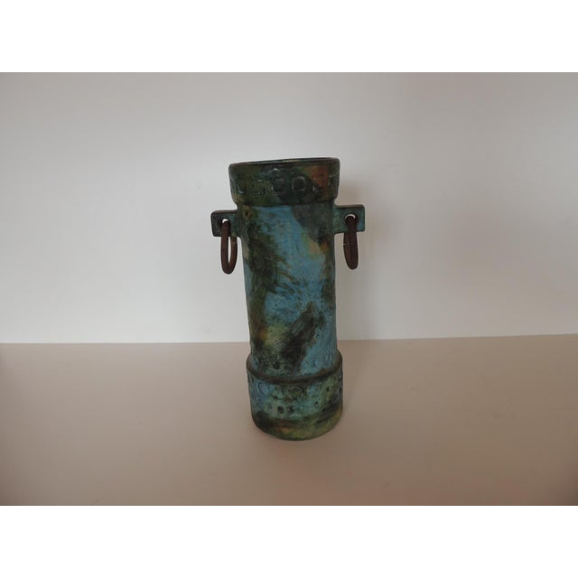 1980s Mid-Century Modern Aqua and Green Hand Painted Pottery Vase With Iron Handles For Sale - Image 5 of 8