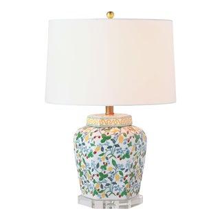 Madcap Cottage Fruit and Flower Pattern Porcelain Jar Table Lamp For Sale