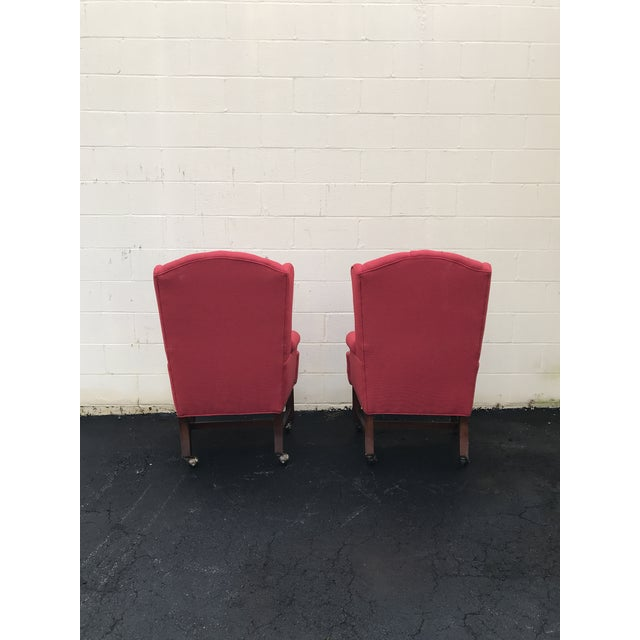Red Upholstered Wingback Chairs - a Pair For Sale - Image 4 of 7