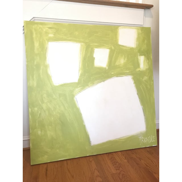 """Abstract Sarah Trundle """"Let Me Count the Ways: Shapes in Chartreuse"""" Original Abstract Painting For Sale - Image 3 of 7"""