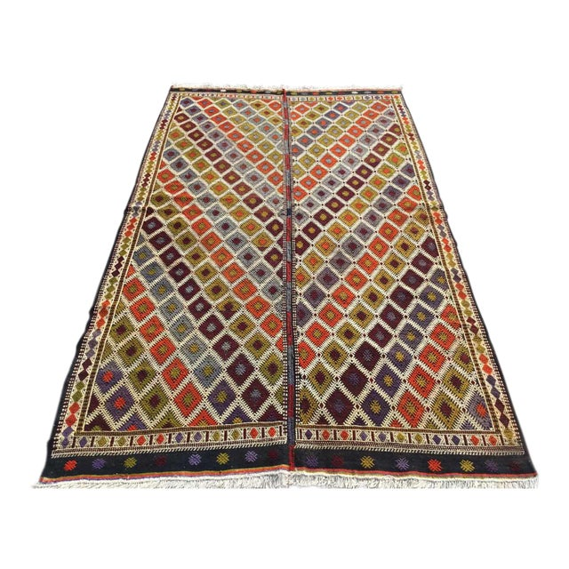 "Turkish Kilim Rug - 5'4"" X 9'1"" - Image 1 of 11"