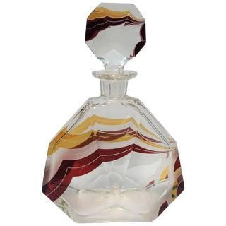 European Art Deco Liquor or Spirit Crystal Decanter by Designer Karl Palda For Sale