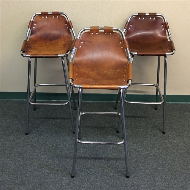 Charlotte Perriand Leather Barstool - Set of Three - Image 2 of 10