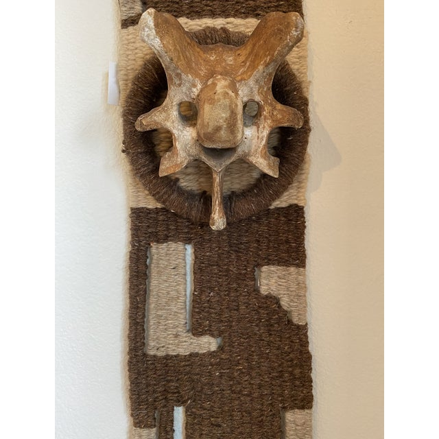 Textile Hand Woven Raw Wool Textile With Cow Vertebrae For Sale - Image 7 of 9