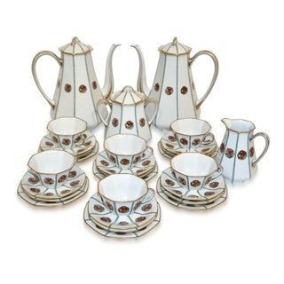 1920s French Art Deco Limoges Porcelain Octagonal Tea / Coffee Set - 28 Pc. Set For Sale
