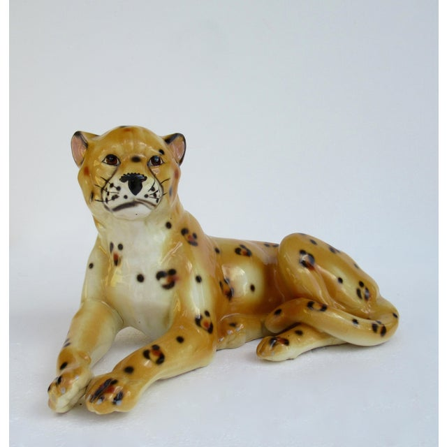 Hollywood Regency Italian Porcelain Ceramic Hand-Painted Leopard in Repose For Sale - Image 13 of 13