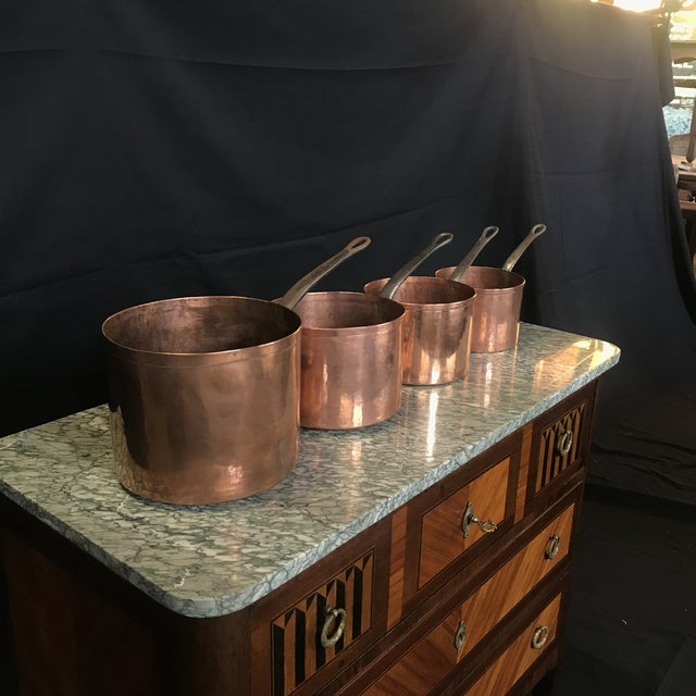 Mid 19th Century Graduated French Copper and Iron Pots- Set of 4 For Sale - Image 4 of 7