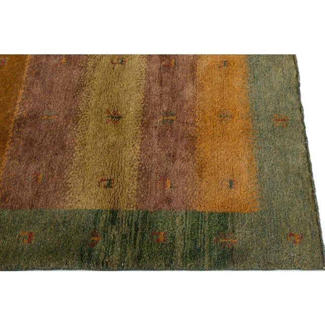 "Textile Mid-20th Century Persian Gabbeh Rug, 2'9"" X 3'10"" For Sale - Image 7 of 9"