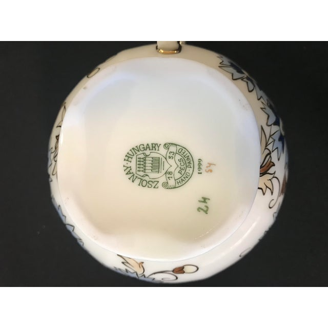 Vintage Zsolnay Hand Painted Porcelain Coffee Set of 15 For Sale In San Francisco - Image 6 of 7