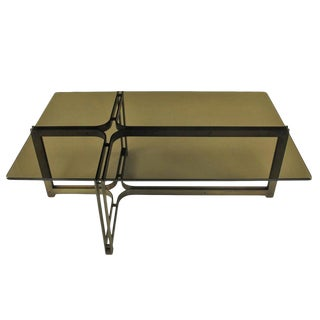 Tom Lopinsky for Dunbar Bronze, Rosewood and Smoked Glass Coffee Table For Sale