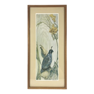 1990s Contemporary Louise Forbes Print of Birds and Flowers on Wood For Sale