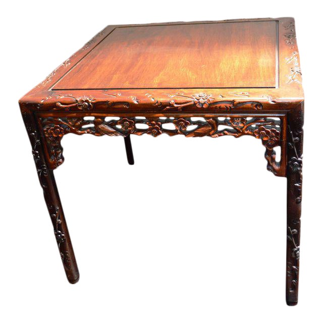 Chinese Asian Rosewood Lacquered Plum Blossom Design Bird Square Side Coffee Table Ming Style Handmade For Sale