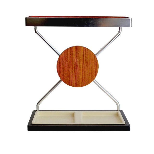 Vintage Danish Midcentury Umbrella Stand in Aluminum and Teak Wood 1960s in Modernist Panton Style For Sale