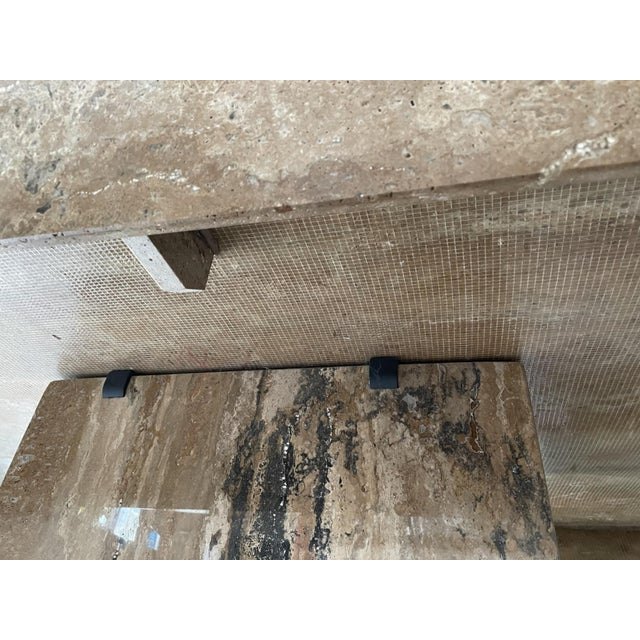Linen Mid 20th Century Contemporary Natural Stone Dining Table For Sale - Image 8 of 10