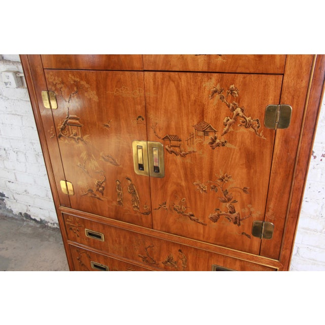 Drexel Heritage Drexel Heritage Hollywood Regency Chinoiserie Armoire Dresser For Sale - Image 4 of 13