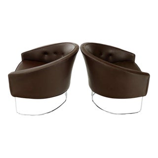 1970s Chrome Bases Barrel Back Tub Chairs - a Pair For Sale