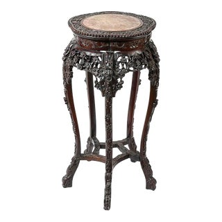 Antique Chinese Rosewood Pedestal / Stand With Marble Top