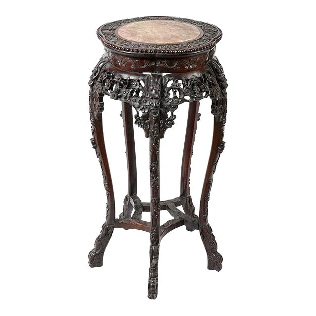 Antique Chinese Rosewood Qing Pedestal / Stand With Marble Top - Image 1 of 7