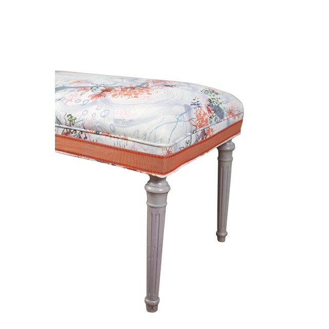 Vintage Louis XVI bench, covered in Ferrick Mason's Victorian Mod - Violet Coral fabric, with trim. Fabric is 100% linen....