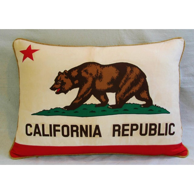 "Jumbo California Republic Bear Flag Feather/Down Pillow 31"" X 22"" For Sale In Los Angeles - Image 6 of 10"