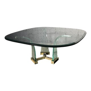 Hollywood Regency Lucite Brass and Glass Coffee Table For Sale