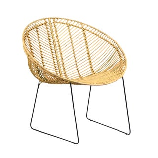 Rattan & Iron Cone Chair For Sale