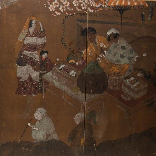 C. 1920s Japanese Market Scene Gold Leaf Byobu Screen For Sale In Dallas - Image 6 of 13