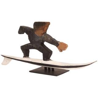 Folk Art Wood Surfer Sculpture For Sale
