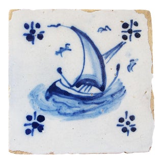 18th Century Portuguese Baroque Blue and White Tile For Sale