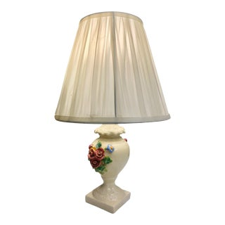 Vintage Small French Porcelain Floral Boudoir Table Lamp For Sale