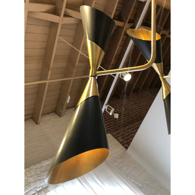 2010s Modern Black Conical Shade Mid Century Chandelier For Sale - Image 5 of 6