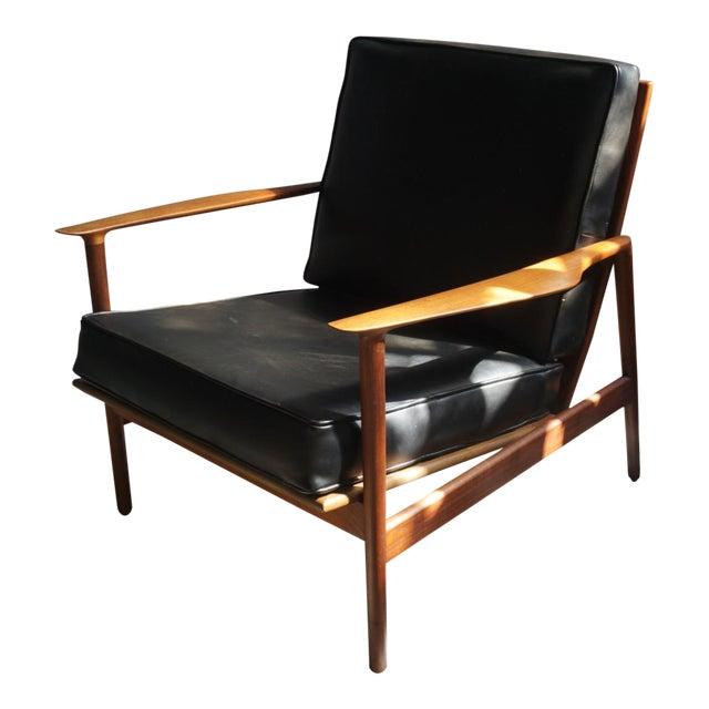 1960s Danish Modern Kofod Larsen for Selig Walnut Lounge Chair For Sale