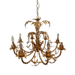 Vintage Faux Bamboo Gilt Chandelier For Sale