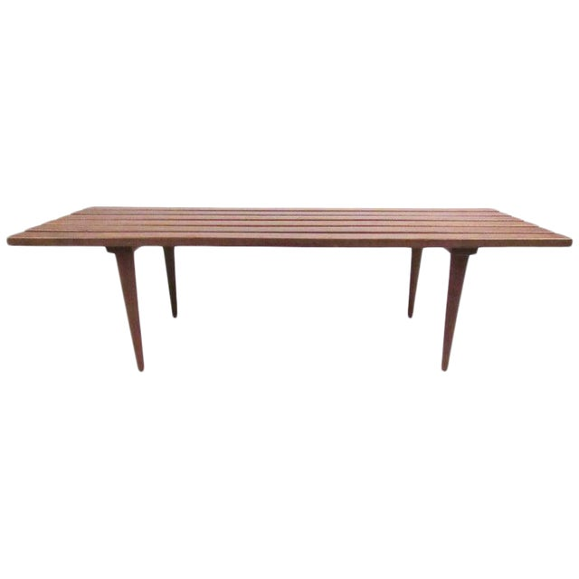 Mid-Century Modern Slat Bench Coffee Table For Sale