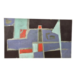 Mid Century Abstract Oil Painting by Yanosicy For Sale
