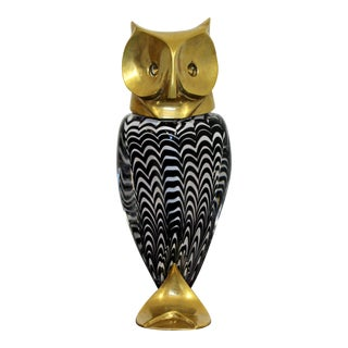 Mid Century Modern Glass Bronze Brass Owl Table Sculpture Luca Bojola Italy