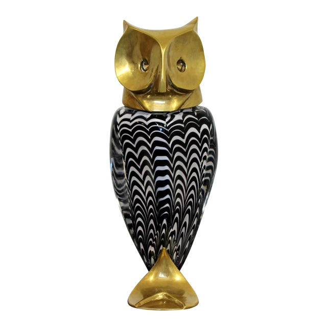 Mid Century Modern Glass Bronze Brass Owl Table Sculpture Luca Bojola Italy For Sale