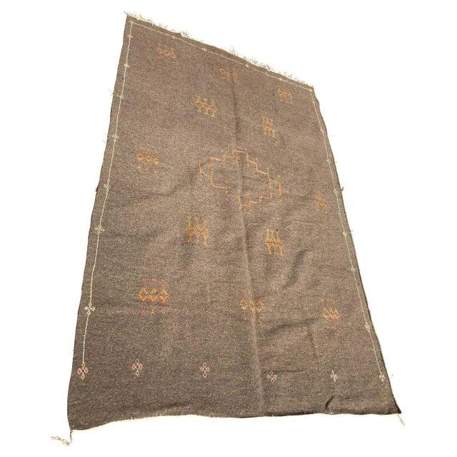 Moroccan Vintage Flat-Weave Brown Rug For Sale - Image 13 of 13