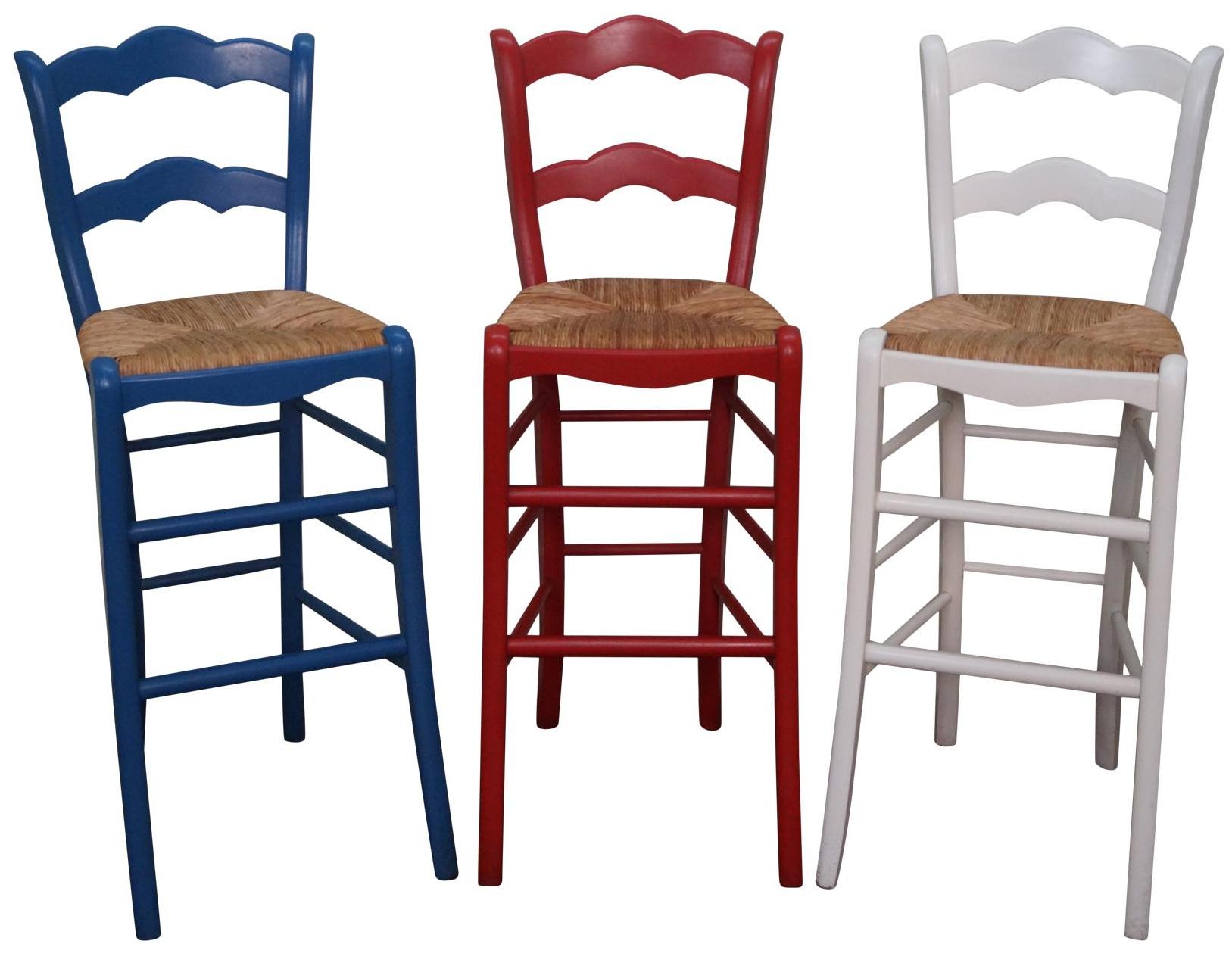 French Country Rush Seat Bar Stools Set Of 3 Chairish