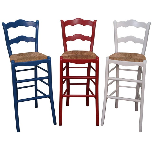 french country rush seat bar stools set of 3 chairish. Black Bedroom Furniture Sets. Home Design Ideas