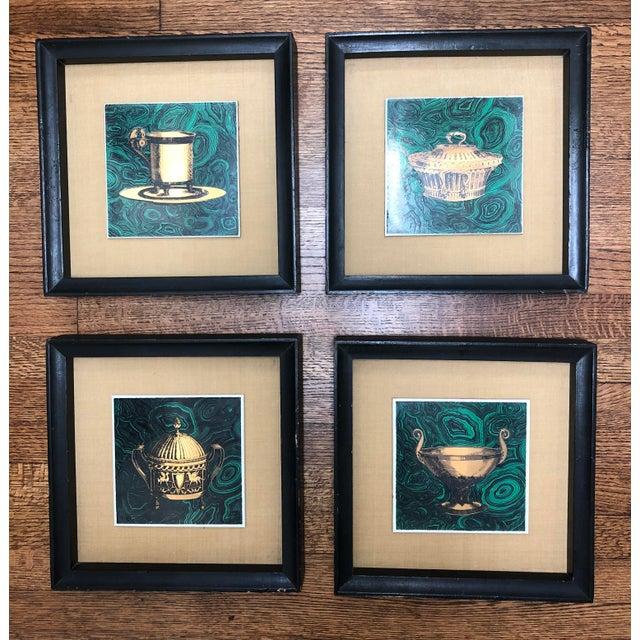 Vintage Fornasetti Italian Framed Malachite Tiles - Set of 4 For Sale - Image 13 of 13